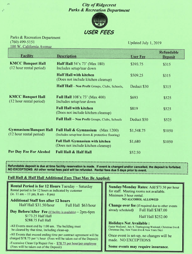 User Fees page 1